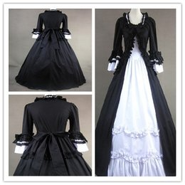 Robes Gothiques Cosplay Pas Cher-Style de style Lotus Leaf jupe Gorgeous Cosplay Robes de bal Gothic Lolita Robes longues simples 2018 Real Photo