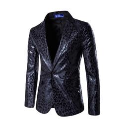 wedding dresses men slim 2019 - Wholesale- New dress Blazer Men Wedding Dress Suit Coat Mens Slim Dress Blazer Leopard Printed Suit Jacket Stage Costume
