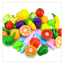fruit cutting toy for kids Canada - Cutting Play Food DressUp Plastic Cutting Fruits Vegetables Set Play Food Set For Baby Kids Pretend Play Educational Puzzle Learning Toys