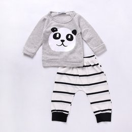 cf7a271f4846 Baby Clothing Sets Kids Newborn baby Boys Girls Long Sleeve Panda T-shirt  +Striped Pants Infant Clothes Outfits Sets