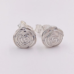 Red Rose eaRRings studs online shopping - Authentic Sterling Silver Studs Silver Rose Garden Earring With Pink Enamel Fits European Pandora Style Jewelry