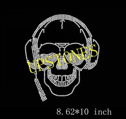 rhinestones transfers for t shirts wholesale 2019 - Free shipping skull hotfix rhinestones heat transfer design iron on motifs for clothing garments use for DIY T-shirts su
