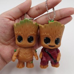 Galaxy Keychain Canada - Groot Tree Man Pendants for Handbags Guardians of the Galaxy Cartoon Kids Toys Decoration Toys Groot Tree Man Keychain CCA7512 50pcs
