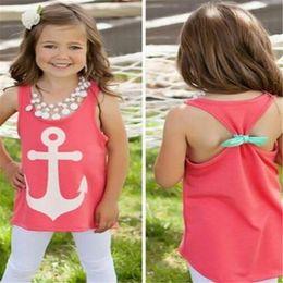 $enCountryForm.capitalKeyWord Canada - Kids Clothing Baby Girls Cute Kids Sleeveless Bow Back T Shirt Summer Anchor Print Tank Tops Graphic Tee Brand Designer Style Vest 4-12T