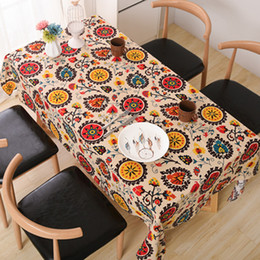 cotton linen tablecloth vintage sun flower table linen tablecloth household table covers for wedding party home - Discount Table Linens