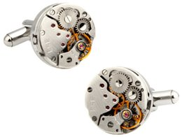 China Vintage 316 Stainless Steel Movement Cufflinks Men Steampunk Gear Watch Cufflinks Business Suits Wedding Cufflinks For Mens cheap watches for business suppliers