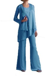 $enCountryForm.capitalKeyWord UK - Plus Size Chiffon Bridal Party Gowns 2017 Mother's Pants Suits with Matching Long Sleeve Jacket Cheap Personalized of the Bride Groom Wear