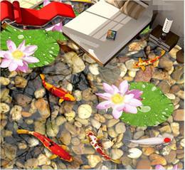 $enCountryForm.capitalKeyWord NZ - 3d pvc flooring custom photo Waterproof floor wall sticker cobbled carp of lotus flower picture room decor painting 3d wall murals wallpaper