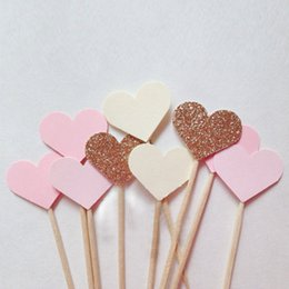 Baby Shower Toppers For Cupcakes Australia - Wholesale- 10PCS set Love Shape Cupcake Toppers For Birthday Party Decoration Heart Dessert Topper Wedding Decoration Baby Shower Supplies