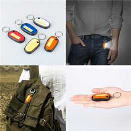 key chain battery Australia - Creative COB LED Flashlight Light 2-Mode Mini Lamp Key Chain Ring Keychain Lamp Torch Keyring With Battery
