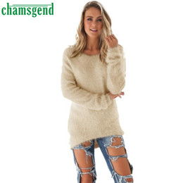 Barato Jumpers Para Mulheres Por Atacado-Atacado- CHAMSGEND Good Deal 2017 New Hot Womens Casual Solid Long Sleeve Jumper Sweaters Blusa 1pc