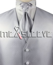 e6ac96b4e7b5 Wholesale wedding man's silver with small dot waistcoat 4pcs(waistcoat+ascot  tie+cufflinks+handkerchief)