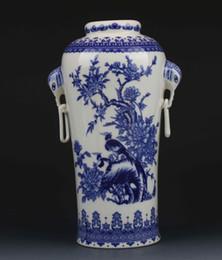 chinese blue and white porcelain handpainted tree u0026 bird vase w qianlong mark