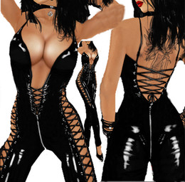 Wholesale women s catwoman costume resale online - Hot Sexy Catwoman Black Jumpsuit Faux Leather Bodysuit Spaghetti Strap Lace Up Full Catsuit Playsuit Slim Tight Leotard