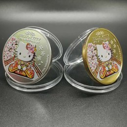 $enCountryForm.capitalKeyWord Canada - 10 pcs lot Rare 40th anniversary of Japanese cartoon animal hello Kitty cat silver 24k real gold plated souvenir coin