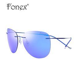 13bbbebf96 Wholesale- Rimless Aviador Sun Glasses Titanium Men Brand Designer Aviation  Blue Silver Coat Polarized Fishing Sunglasses Uv400 Silhouett