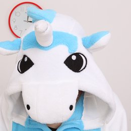 Wholesale Unisex Adult Flannel funny Blue Unicorn Cartoon Animal onecie Pajamas Kigurumi animal suite for party halloween cosplay costume