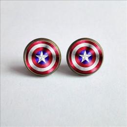 Discount superhero glasses - 2017 New Captain Shield Ear Stud Superhero Captain Shield Earrings Superhero Glass Cabochon Earrings Handmade