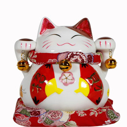 $enCountryForm.capitalKeyWord NZ - Authentic China Lucky Cat genuine Japanese Red Fan Lucky cat small ceramic ornaments   opening   holiday gift