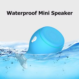 Chinese  2017 Mini Whale Tail Floating IPX6 Waterproof Shower Portable Bluetooth Hifi Speaker with Sucker Phone Holder Stands led Light MIS135 manufacturers