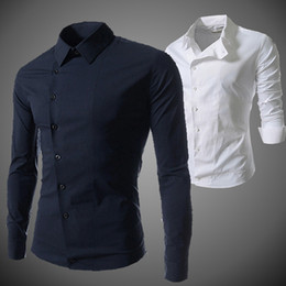 Dobby shirts men online shopping - Men Casual Shirts Fashion New Male Business Shirt Slim Fit Autumn Spring Long Sleeved Square Collar Tops Male buttons oblique Tees
