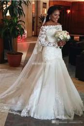 $enCountryForm.capitalKeyWord NZ - New 2017 Sexy Mermaid Wedding Dresses Illusion Long Sleeve Fishtail Train Sequins Beaded Tulle Lace Bridal Gowns Wedding Dress Plus Size