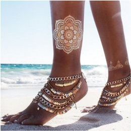 $enCountryForm.capitalKeyWord Canada - Punk Coin Sequins Anklets One Piece Gold Tone Bohemian Coin & Tassel Anklets Ankle Bracelets Yoga Barefoot Sandals