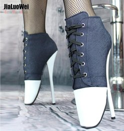 Barato Mulheres Bdsm-Frete Grátis 2017 Moda Canvas Cross-tied Sexy BDSM Ankle BALLET Boots Bombas 18CM Spike High Heels Short Boot Outono Denim Mulheres sapatos