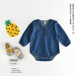 Barato Manga Longa Denim-New Fashion Baby Rompers Meninos e meninas Denim mangas compridas Jumpsuit Cute Children PP Romper