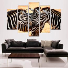 Zebra Print Art Australia - 5 Panel Painting Wild Zebra Painting Canvas Art Prints Animal Wall Pictures for Living Room Bedroom Home Decoration Unframed