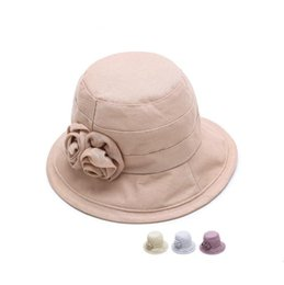 Woman Flowers Garden Canada - Best gift Summer shade beach bowl cap woman breathable linu fisherman hat old rose rose flower hat M016 with box