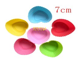 flower shaped silicone cupcake UK - 504pcs lot Heart & Rose flower Shape Silicone Mold DIY Cake Tools 7cm Cupcake Cup Muffin Baking Chocolate Fondant Mould