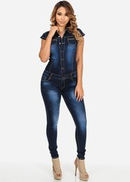 Barato Senhoras Denim Rompers-Wholesale-New Women Blue Jeans Jumpsuit Ladies Club Night Wear Rompers Mulheres Sexy Single-breasted Slim Button Zipper Denim Jumpsuits