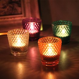 $enCountryForm.capitalKeyWord UK - Fashion Glass Candle Holders Colorful Round Pitting Design Candlestick Household Anti Wear Candler For Hotel Decoration 4 5ty B R