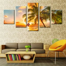 $enCountryForm.capitalKeyWord Canada - Free shipping5 Piece Decorative Picture Sunset Seascape Inclued Coco Beach Modern Wall Art HD Picture Canvas Print Painting For Living Room