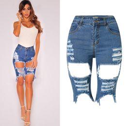 High Waist Ripped Shorts Wholesale Canada - Wholesale- Olraon Women's High Waist Stretchy Irregular Ripped Hole Distressed Midi Short Jeans Slim Washed Denim Shorts