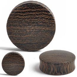 Ceramics Piercing UK - 2pcs Black Wood Wooden Ear Plug Double Flared Saddle Flesh Tunnel Stretcher Ear Expander Body Piercing Punk Jewelry 8-28mm