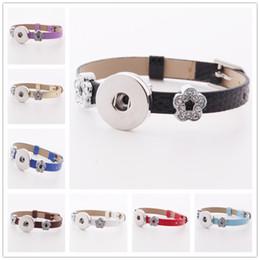 $enCountryForm.capitalKeyWord Canada - Fashion Watch Band buckle 18mm Snap Button Leather Bracelet Crystal Flower Spacer DIY Interchangable Noosa Chunks Charms Jewelry Z84