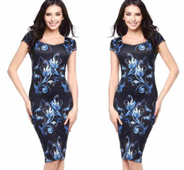Discount cheap working dresses - Vintage 2019 New Women Dresses Cheap O Neck Elegant Floral Print Work Business Knee Length Casual Party Pencil Sheath Ve