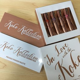 Barato Eyeshadow Lipgloss Blush-KOKO Kollection 2 Kit Highlighter Blush Eyeshadow Palette Lipgloss 4Pcs ambientado no Kylie Liquid Lipstick Kit By Kylie Cosmetic