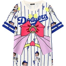 Desgin Superior Baratos-Mujeres Cute Baseball Betty Cartoon camiseta 2017 Casual Desgin Kawaii Tee Tops Mujer Mujer Moda gran tamaño camiseta de rayas blanco