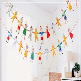 home birthday supplies Australia - Wholesale- 12 pcs  lot Cute happy boys girls and animals flags and banners Festive Party Supplies Birthday Party Garland Home Decoration