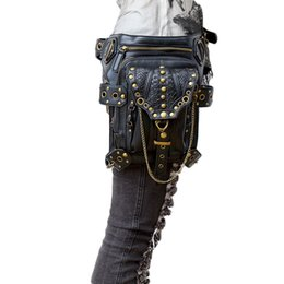 Legging Styles For Women UK - new waist bag pack for women retro fashion pu leather female outdoor leg motorcycles bags punk style with chains messenger bags