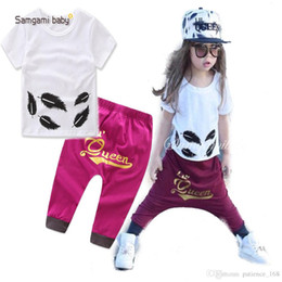 $enCountryForm.capitalKeyWord NZ - INS Europe and America new styles Hot selling girl Summer 2 pieces set black leaf T-shirt+ Purple pants clothing girls Cotton sets 1-3T
