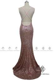 Barato Gota Cintura V Neck Vestidos-HarveyBridal Sexy Drop Waist Backless Rose Gold Sequined Dressing Dresses 2017 Mermaid Cross Back Vestidos de noite V-neck Vestidos de baile