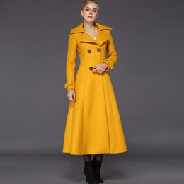 Trench De Femme Décontracté Pas Cher-Femmes Tranchée Manteau 2017-2018 Hiver Femme Laine Jaune Mince Manteau Maxi Chaud Long Veste Trench-Coat Casual Femme Froid vêtements