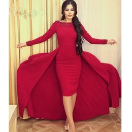 $enCountryForm.capitalKeyWord Canada - High Low Red Long Sleeve Prom Dresses 2019 Cheap Bateau Neck Beaded Sheath Satin Cheap Cocktail Party Dress Arabic Women Formal Wear Sexy