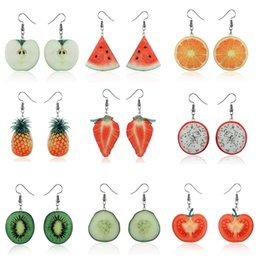 wholesale charms UK - High quality Korean creative fruit strawberry watermelon pineapple realistic beautiful earrings clothing accessories Charm earrings spot