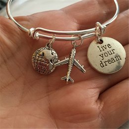 AirplAne brAcelets online shopping - 12pcs Travel Bracelet with world airplane and stamped live your dream for the traveler