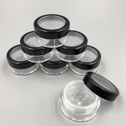 Chinese  5ML 5G Portable Empty Clear Make-up Powder Puff Box Case Container with Powder Sifter and Black Screw Lid Loose Powder Jar Pot manufacturers